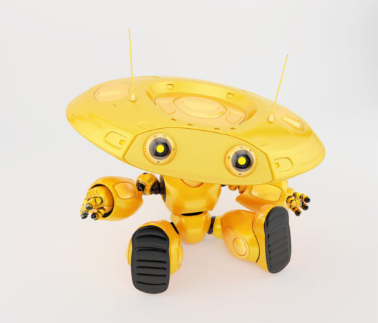 Yellow robotic ufo toy with big plate head, two thin antennas resting and gesturing