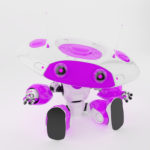 Bright violet robotic ufo toy with big plate head, two thin antennas resting and gesturing