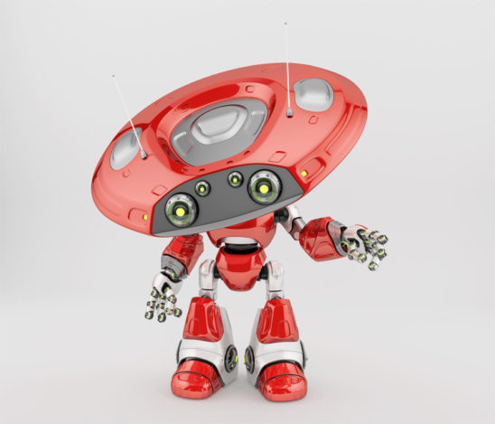 Smart robot ufo in juicy red color with slightly tilted plate head, gesturing