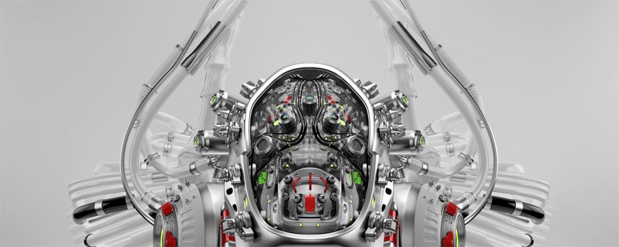 Connected robotic brain in cyborg head