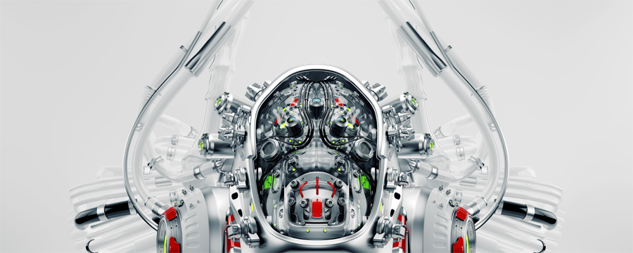 Connected robotic brain in cyborg head 3d render
