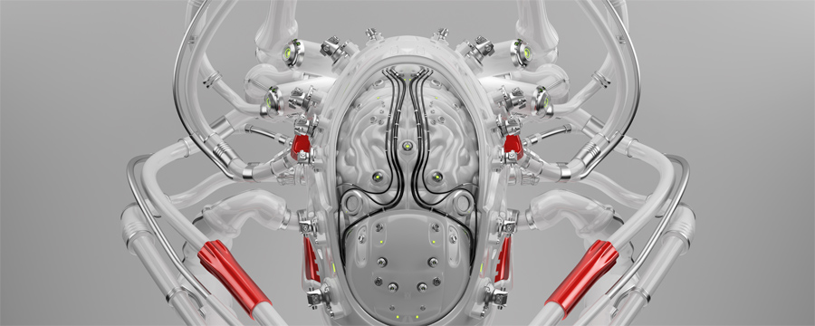 WIred silver robot brain with red elements, 3d render
