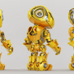 bright yellow bbot trio robot