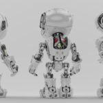 White bbot trio robot in different angles, 3d render