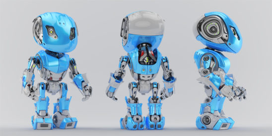 Blue-grey bbot trio robots in different angles, 3d render