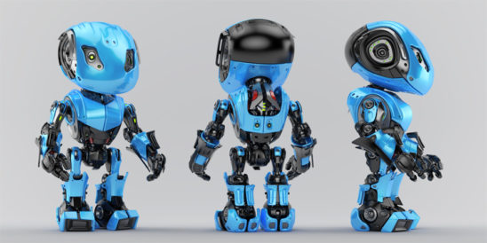 Blue-black bbot trio robots in different angles, 3d render