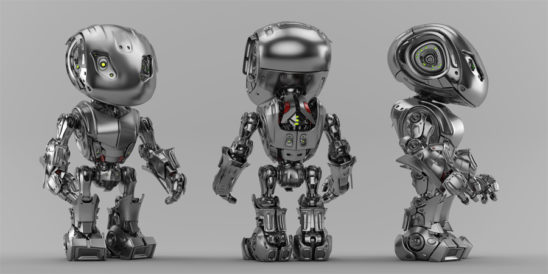 Steel bbot trio robots in different angles, 3d render