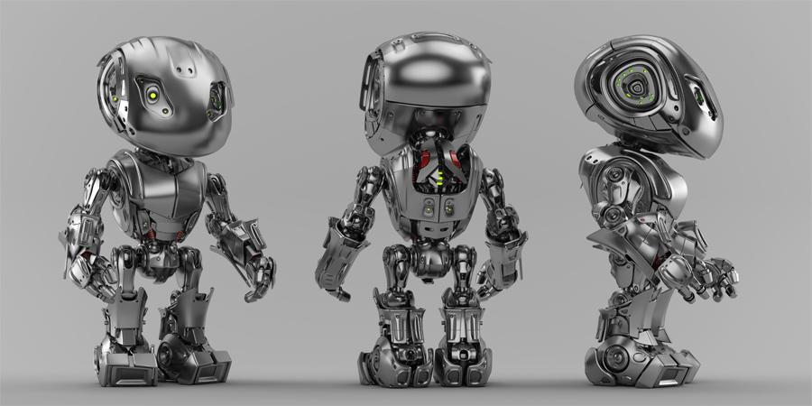 Steel bbot trio robots in different angles, 3d render