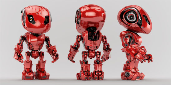 Juicy red bbot trio robots in different angles, 3d render