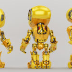 Bright yellow bbot trio robot in different angles, 3d render