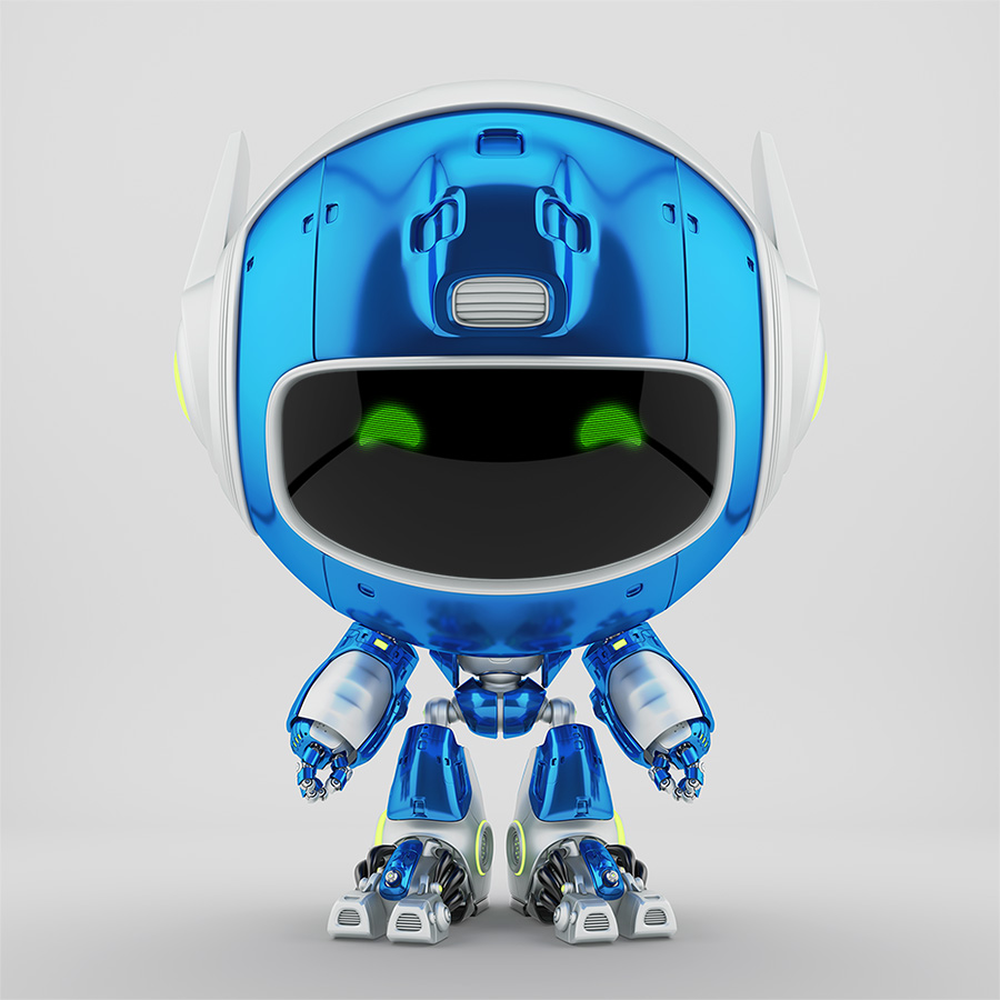 Juicy blue robot pr manager, unusual robotic character with white prick-ears