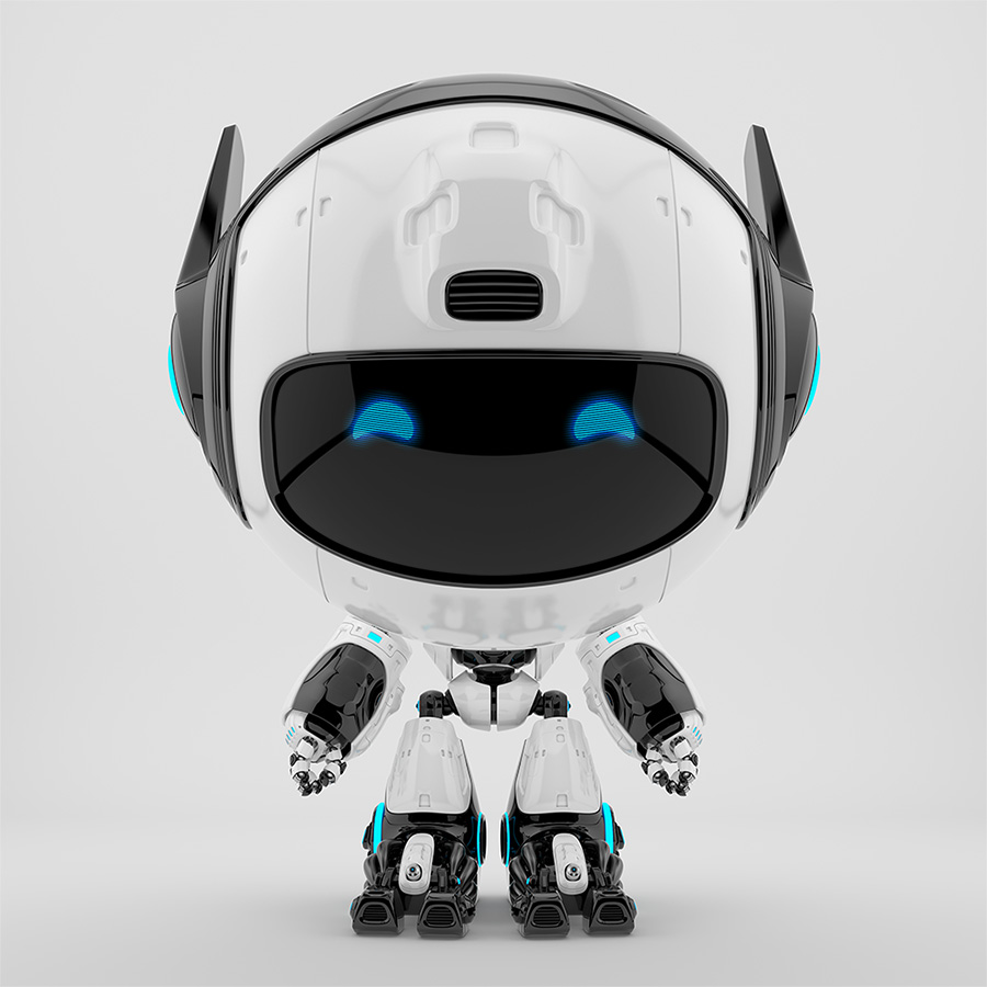 Black and white robot pr manager, unusual robotic character with funny prick-ears