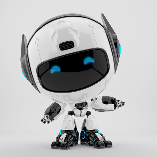 Black and white robot pr manager, unusual robotic character with funny prick-ears gesturing