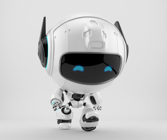 Walking black-white robot pr manager, unusual robotic character with funny prick-ears