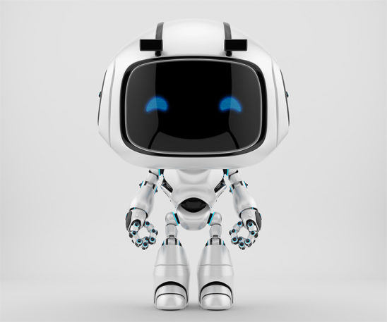 Smooth white robotic character - unit 9 in frontal pose