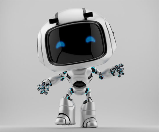 Pearl white robotic character - unit 9 in frontal pose, gesturing