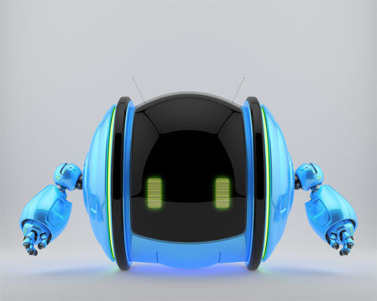 Blue roll bot on two wheels with little robotic arms and antennas