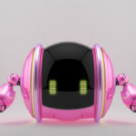 Pink shiny roll bot on two wheels with little robotic arms and antennas