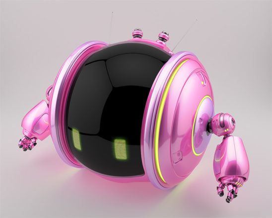 Pink shiny roll bot on two wheels with little robotic arms and antennas in side upper render