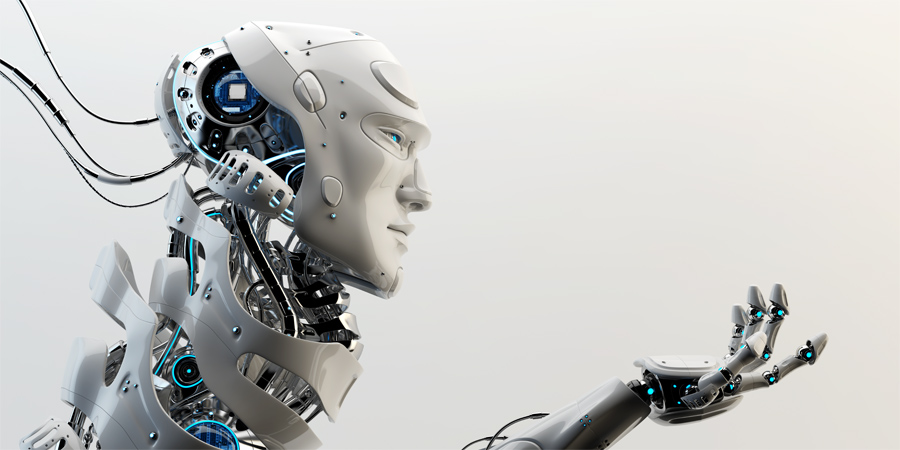 Smart robot with unique neck structure and stretched arm in side render