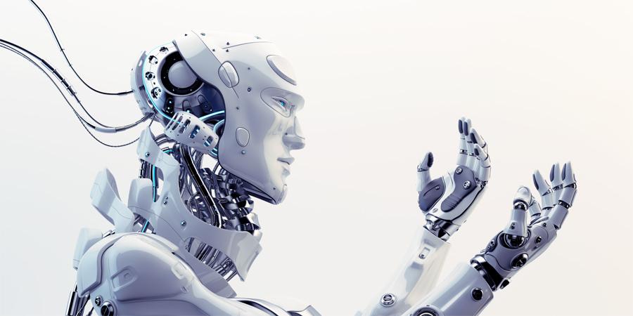 Smart robot looking on hands, side 3d render