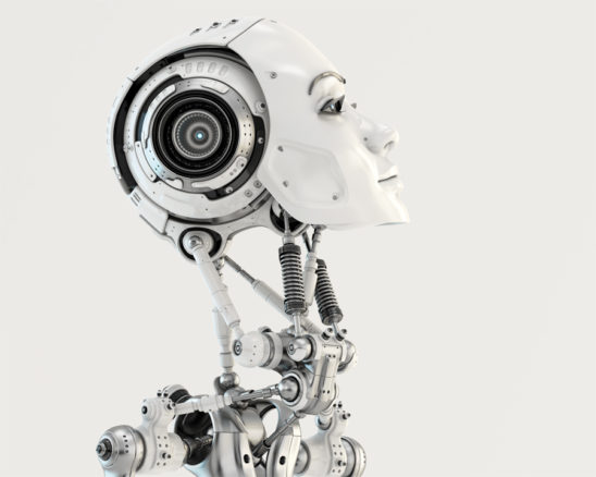 Woman robotic head in side render