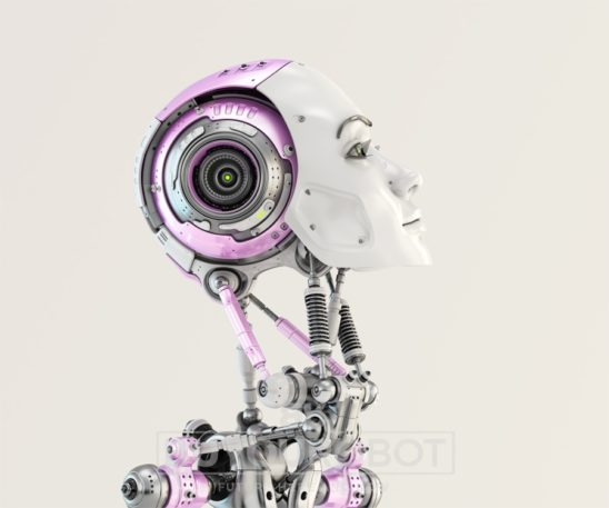 Woman robotic slightly raised head with cute pink parts in side render