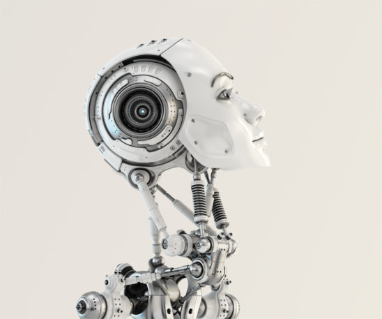 Woman robotic, slightly raised, head in side render