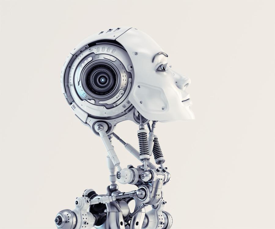 Woman robotic, slightly raised, head in side render