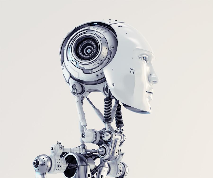 Stylish cyborg. Eternal handsome robotic man 3d render