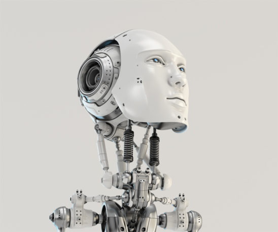 Men's slightly raised robotic head