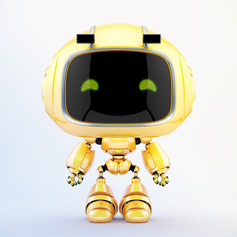 Cute robotic toy - mini unit 9 robot 3d render