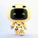 Cute robotic toy - walking forward mini unit 9 robot 3d render