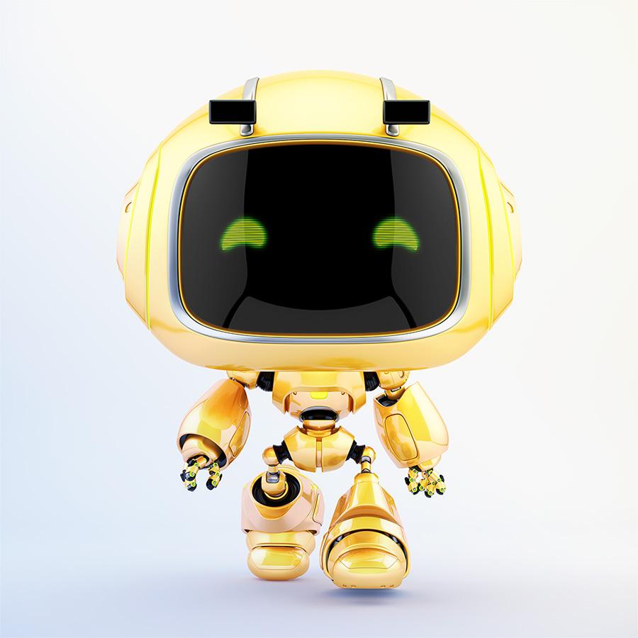Cute robotic toy - walking forward mini unit 9 robot 3d render
