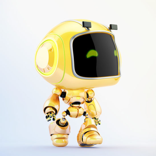Cute mini unit 9 robot walking in side render