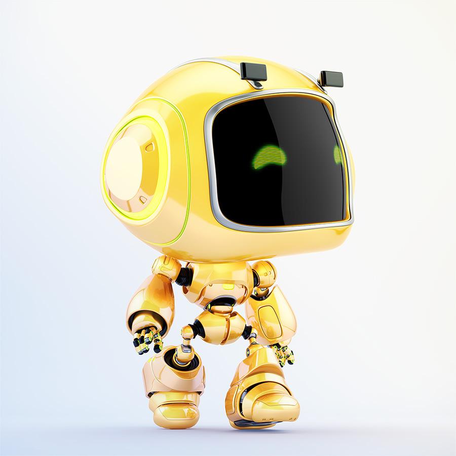 Cute mini unit 9 robot walking in side render