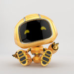Childish mini unit 9 robot toy resting and greeting, 3d render
