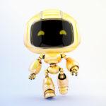 Cute robotic toy – walking forward mini unit 9 robot 3d render