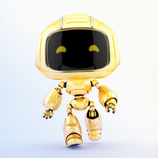 Cute robotic toy – walking forward mini unit 9 robot 3d render