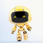 Cute robotic toy – walking mini unit 9 robot, 3d render