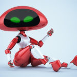 Sexy, charming cherry ufo robot girl sitting 3d render
