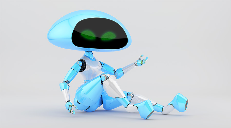 Sexy, charming blue ufo robot girl sitting 3d render