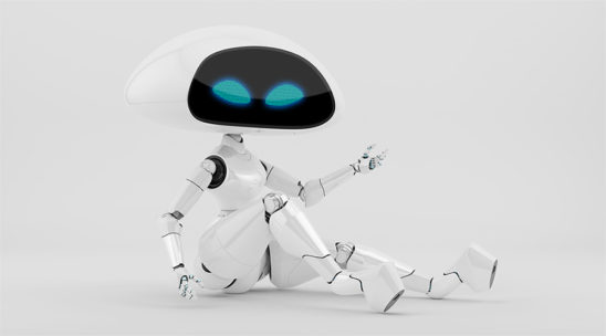 Sexy, charming white ufo robot girl sitting 3d render