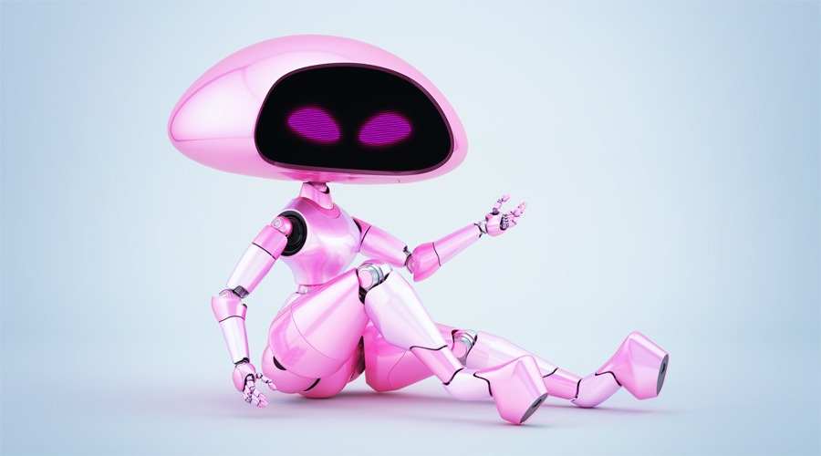Sexy, charming pink ufo robot girl sitting 3d render