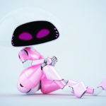 Charming sexy girlish pink-white ufo robotic girl sitting 3d render