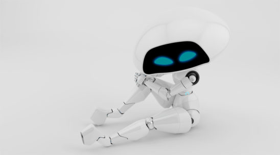 Sexy, charming white alien robot girl sitting in upper view 3d render