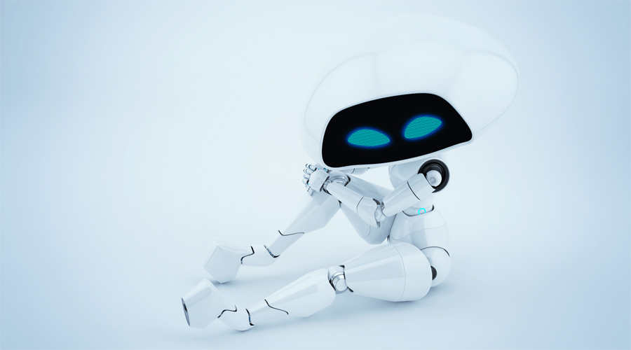 Unique white ufo robot girl sitting in upper view 3d render