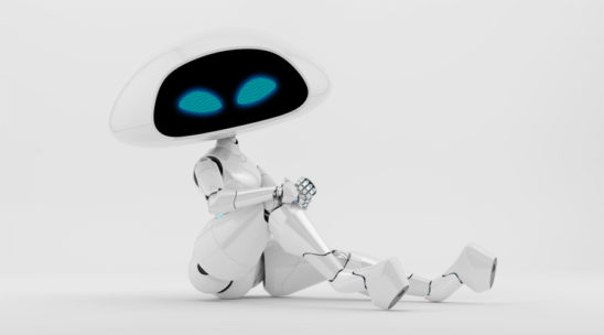 Charming sexy white ufo robotic girl sitting 3d render
