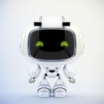Cute white robotic toy – mini unit 9 robot 3d render