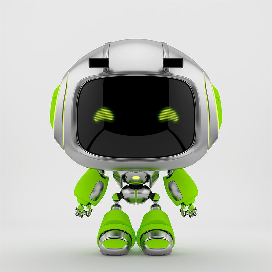 Cute silver green robotic toy – mini unit 9 robot 3d render